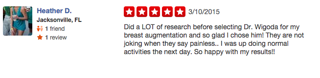 dr wigoda plastic surgery reviews on yelp