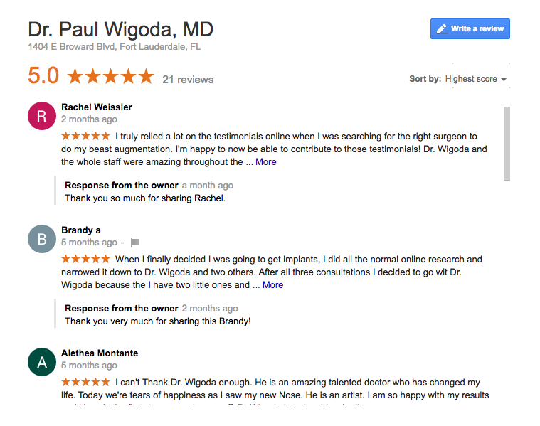Drwigoda plastic surgery google reviews